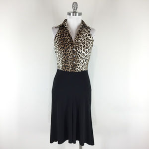 New Cache S 4 Animal print high Low Midi dress